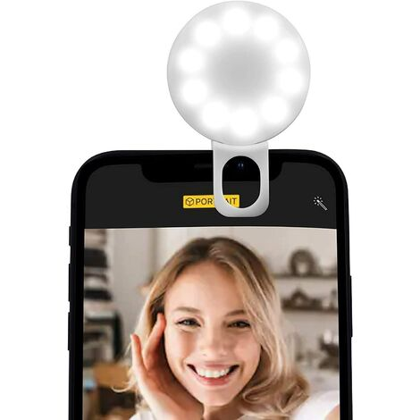 """main image of """"Selfie Ring Light, Protable Selfie Ring Light Flash USB Rechargeable 3 Brightness Levels for iPhone iPad Photography Phone"""""""