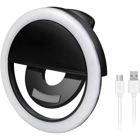 """main image of """"Selfie Ring Light, Rechargeable Selfie Ring Light, 36 LED Clip-On Additional Ring Light Selfie LED Illumination Enhancement Fill Light for Smartphones Tablets, USB Charged - Black"""""""
