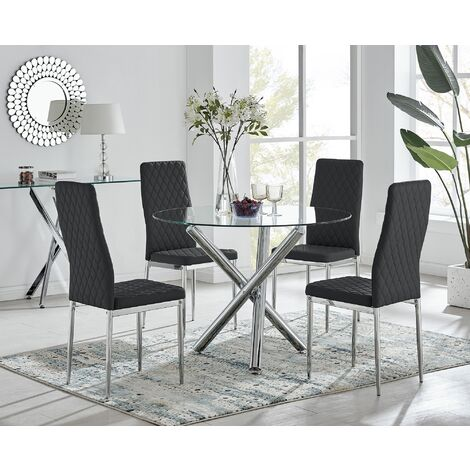Selina Chrome Round Glass Dining Table and 4 Black Milan Dining Chairs