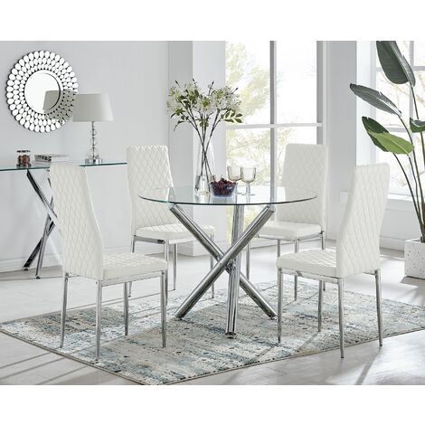 Selina Chrome Round Glass Dining Table and 4 White Milan Dining Chairs