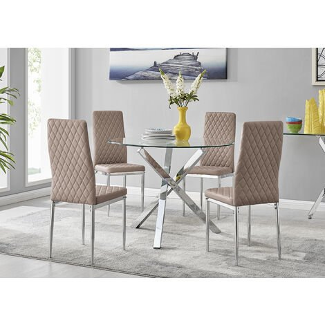 """main image of """"Selina Chrome Round Square Leg Glass Dining Table And 4 Milan Chairs Set"""""""