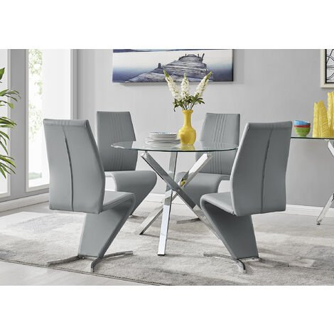 """main image of """"Selina Chrome Round Square Leg Glass Dining Table And 4 Willow Chairs Set"""""""