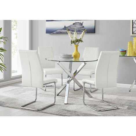 """main image of """"Selina Chrome Round Square Leg Glass Dining Table And 4 Lorenzo Chairs Set"""""""