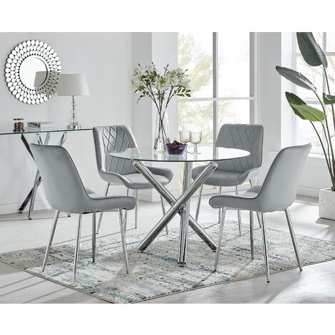 """main image of """"Selina Round Dining Table and 4 Pesaro Silver Leg Chairs"""""""