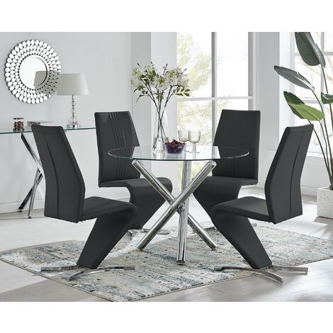 Selina Round Glass And Chrome Metal Dining Table And 4 Luxury Willow Chairs Set