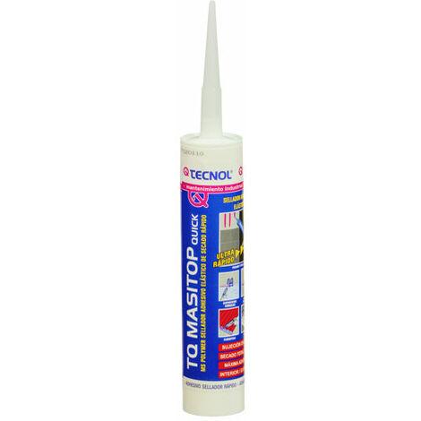 Sellador adhesivo elástico apto para superficies húmedas, con tecnología de silano modificado, Masitop Quick de 300ml, TECNOL