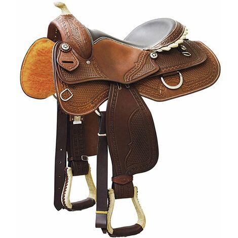Selle western de Reining en cuir avec fabrication de basket-ball et déchirures en cuir brut Denver