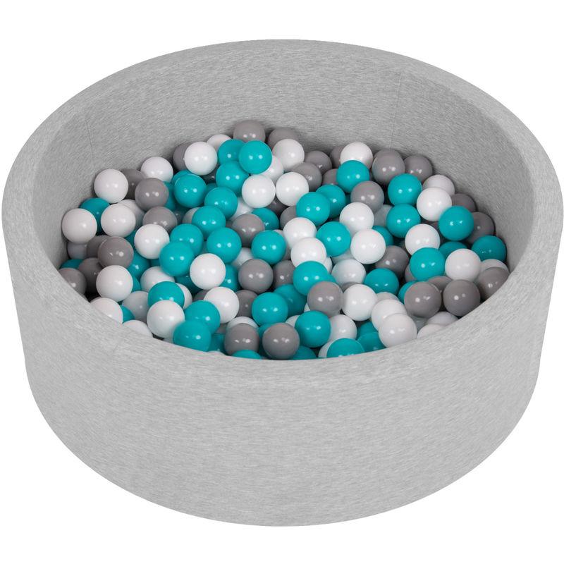 Piscine À Balles 90X30cm/200 Balles Ronde En Mousse Pour Bébé Enfant, Gris Clair: Gris-Blanc-Turquoise - Selonis