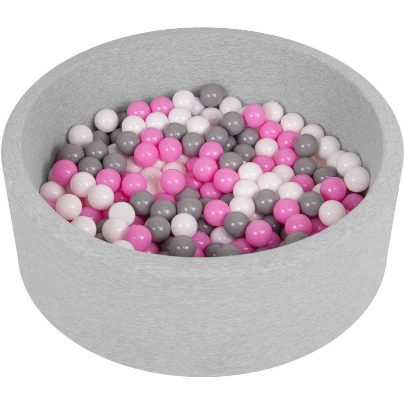 Piscine À Balles 90X30cm/200 Balles Ronde En Mousse Pour Bébé Enfant, Gris Clair: Gris-Blanc-Rose - Selonis