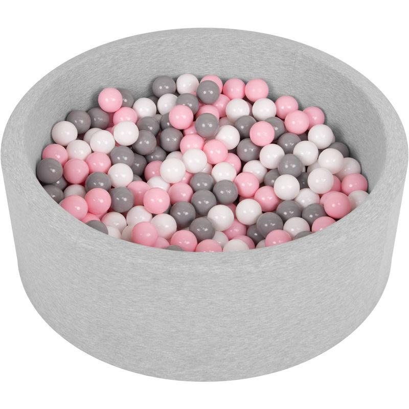Piscine À Balles 90X30cm/200 Balles Ronde En Mousse Pour Bébé Enfant, Gris Clair: Blanc-Gris-Rose Poudré - Selonis