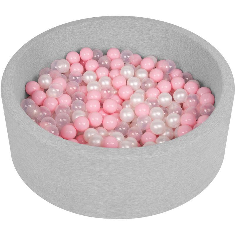 Piscine À Balles 90X30cm/200 Balles Ronde En Mousse Pour Bébé Enfant, Gris Clair: Rose Poudré/Perle/Transparent - Selonis