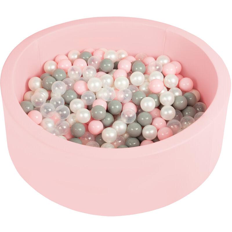 Piscine À Balles 90X30cm/200 Balles Ronde En Mousse Pour Bébé Enfant, Rose: Perle/Gris/Transparent/ Rose Poudré - Selonis