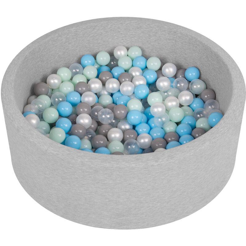 Piscine À Balles 90X30cm/200 Balles Ronde En Mousse Pour Bébé Enfant, Gris Clair: Perle/Gris/Transparent/Babyblue/Menthe - Selonis