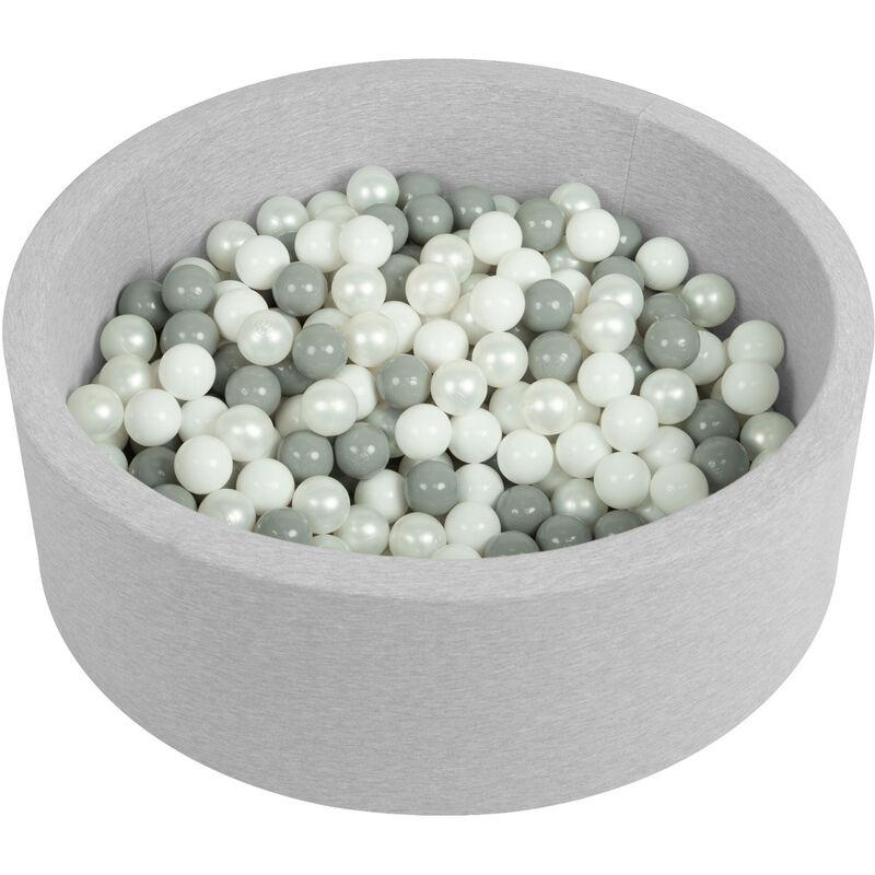 Piscine À Balles 90X30cm/200 Balles Ronde En Mousse Pour Bébé Enfant, Gris Clair: Blanc/Gris/Perle - Selonis