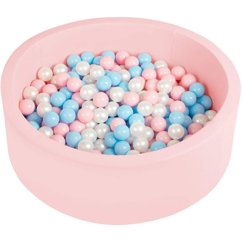 Piscine À Balles 90X30cm/200 Balles Ronde En Mousse Pour Bébé Enfant, Rose: Babyblue/Rose Poudré/Perle - Selonis