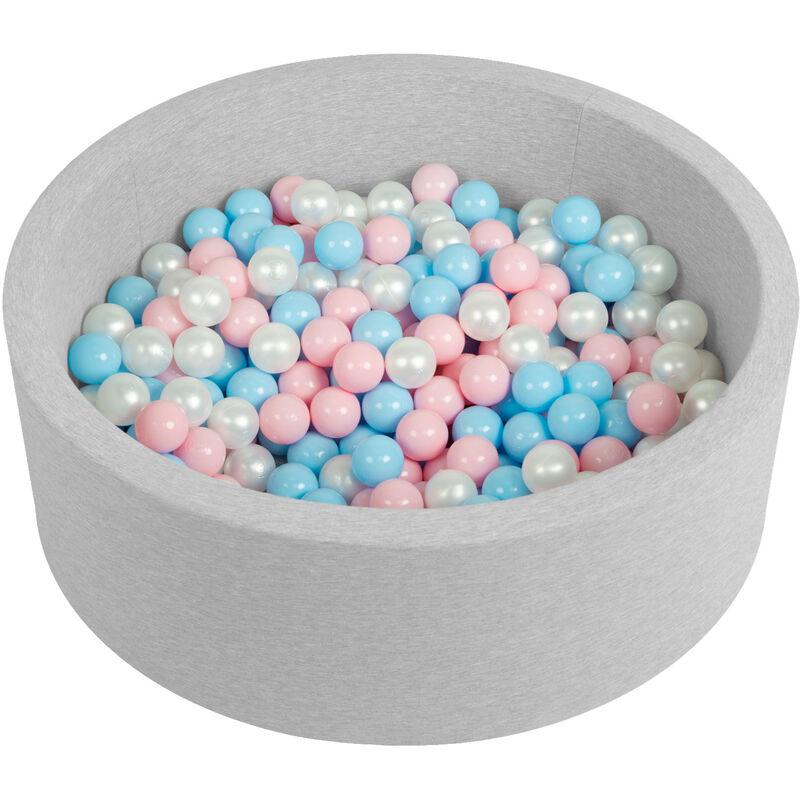 Piscine À Balles 90X30cm/200 Balles Ronde En Mousse Pour Bébé Enfant, Gris Clair: Babyblue/Rose Poudré/Perle - Selonis