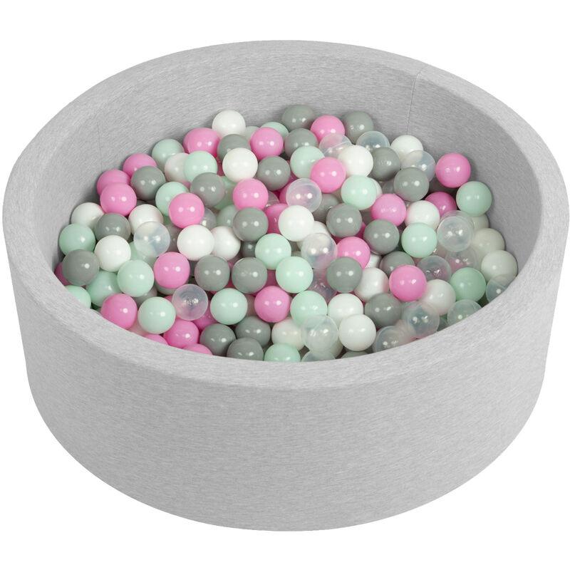 Selonis Piscine À Balles 90X30cm/200 Balles Ronde En Mousse Pour Bébé Enfant, Gris Clair: Transparent/Gris/Blanc/Rose/Menthe