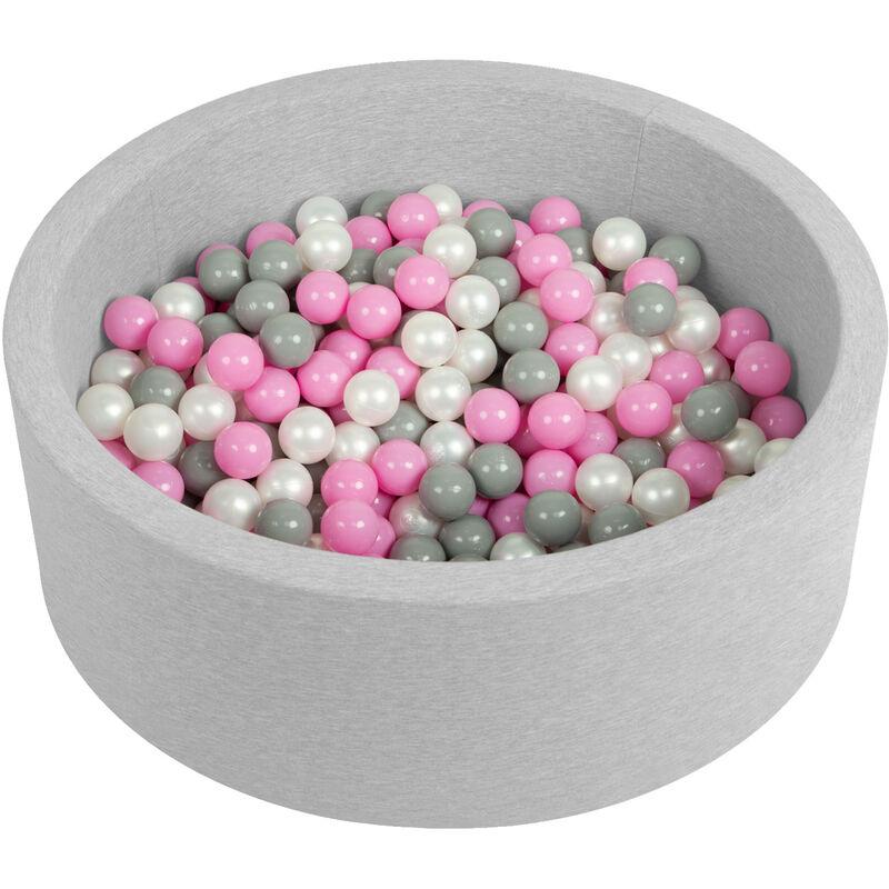 Selonis Piscine À Balles 90X30cm/200 Balles Ronde En Mousse Pour Bébé Enfant, Gris Clair: Perle/Gris/Rose