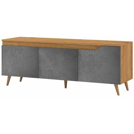 Selsey ALPHARD - Meuble TV (craft doré / béton graphite, 140 cm)