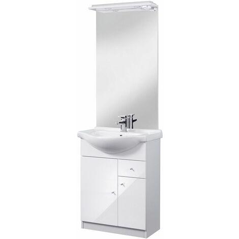 Selsey BELGOS - Ensemble de meubles salle de bain - 65 cm - blanc - lavabo - placard - miroir - style moderne