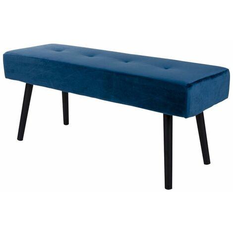 Selsey BELICER - Banc - velours bleu - 100 cm - pieds noirs en acier - style glamour