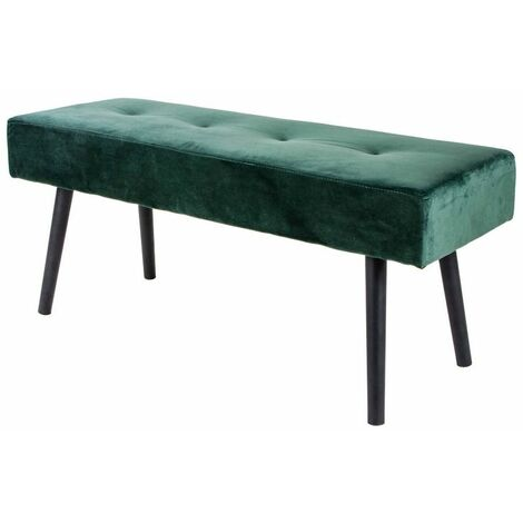 Selsey BELICER - Banc - velours vert - 100 cm - pieds noirs en acier - style glamour
