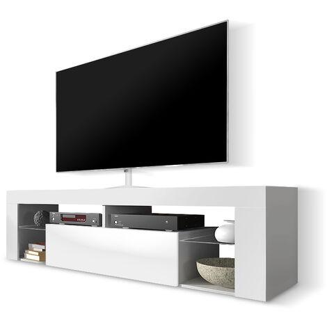 Selsey BIANKO - Meuble TV / Banc TV (140 cm, blanc mat / blanc brillant, sans LED)