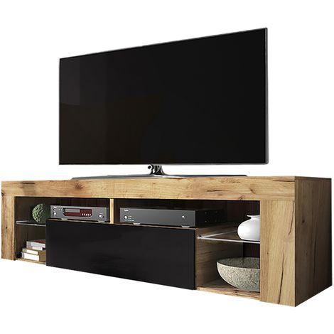 Selsey BIANKO - Meuble TV / Banc TV (chêne lancaster / noir brillant, 140 cm, sans LED)