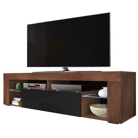 Selsey BIANKO - Mobile TV Moderno / Tavolino TV / Porta TV Elegante con Ripiani in Vetro 140 cm (Noce Opaco / Nero Lucido, con LED)