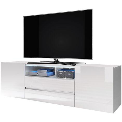 "main image of ""Selsey Bros - TV Stand - White Matt / White Gloss with LED Lighting"""