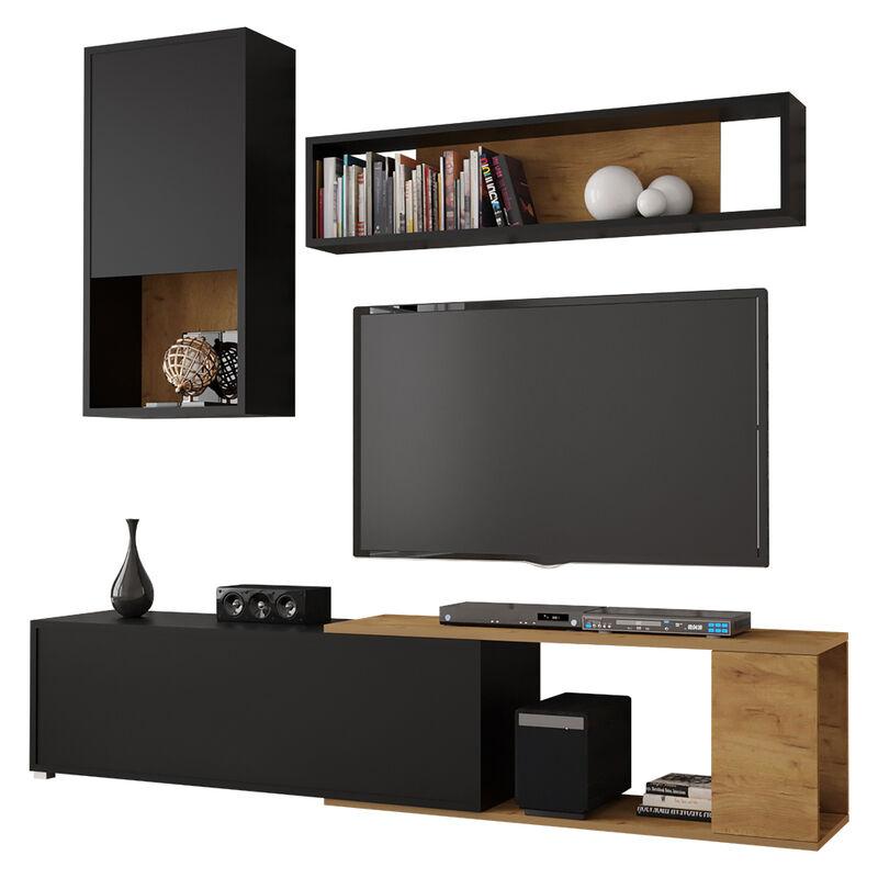 Selsey CAIARA - Wohnzimmer-Set / Moderne Wohnwand in Schwarz/Eiche, 3-tlg. mit Hängeschrank, Wandregal und TV-Board