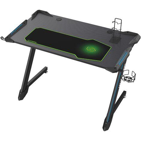 Selsey CORLI - Gaming-Schreibtisch mit Carbonoberfläche, Kopfhörerhaken, Gamepadsständer und LED