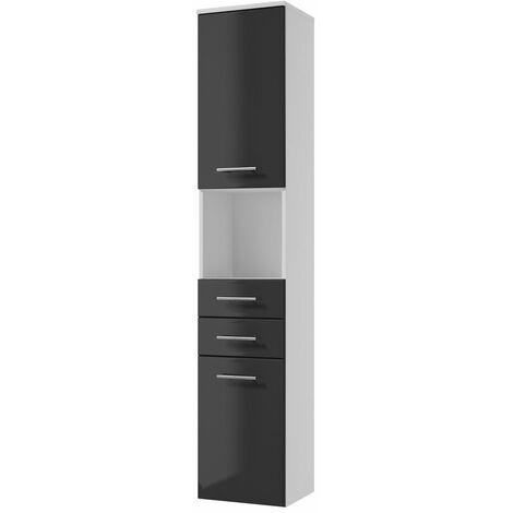 Selsey CRANSTON - Colonne de salle de bain - blanc / graphite - suspendue - 2 tiroirs - style scandinave