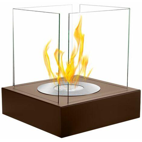 Selsey CUBE - Cheminée éthanol - bronze - biocarburant - tôle d'acier - style moderne