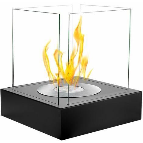 Selsey CUBE - Cheminée éthanol - noir structurel - biocarburant - tôle d'acier - style moderne