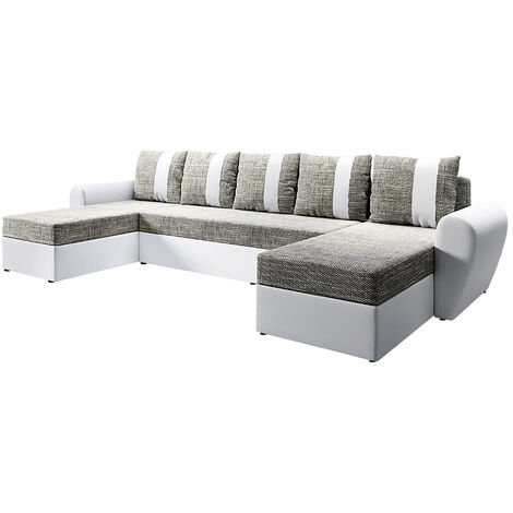 Selsey Dabih - Corner Sofa Bed - White / Brown - U-shaped - modern