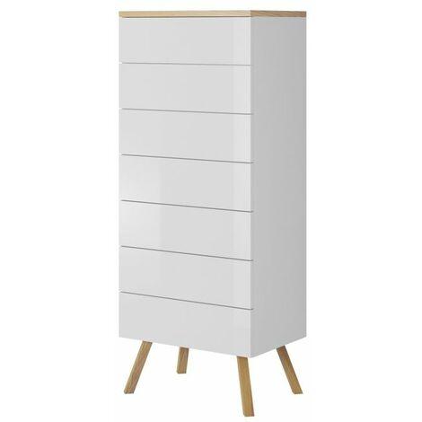 Selsey DINOSTO - Commode de chambre / Commode de salon (blanc / effet bois, 52 cm, 7 tiroirs)