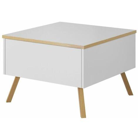 Selsey DINOSTO - Table basse / Table de salon (blanc / bois, 2 tiroirs)
