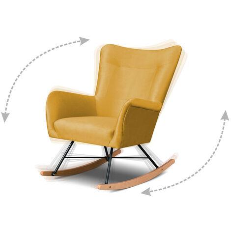 Selsey FIANNA - Fauteuil à bascule - moutarde - tissu imperméable - pieds en bois - style moderne