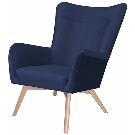 Selsey FIANNA - Fauteuil à oreilles - bleu marine - en tissu imperméable - pieds en bois - style moderne