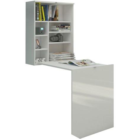 Selsey FUNCTION - Bureau escamotable / Bureau pliable (blanc mat / blanc brillant, surface du plateau 71x52 cm)