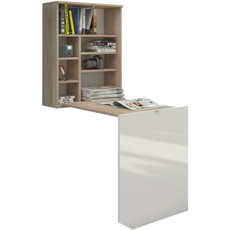 Selsey FUNCTION - Bureau escamotable / Bureau pliable (chêne sonoma / blanc brillant, surface du plateau 71x52 cm)