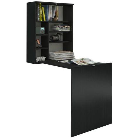Selsey FUNCTION - Bureau escamotable / Bureau pliable (noir mat, surface du plateau 71x52 cm)