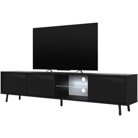 Selsey GALHAD - Meuble tv / Banc tv (noir mat / noir brillant, 175 cm, éclairage LED)