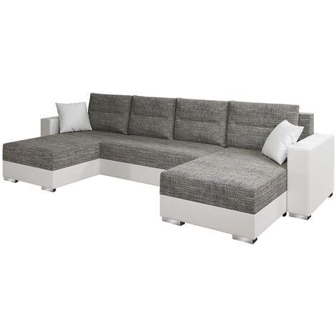 "main image of ""Selsey Gambia - Corner Sofa Bed - Grey / White - U-shaped - Modern"""