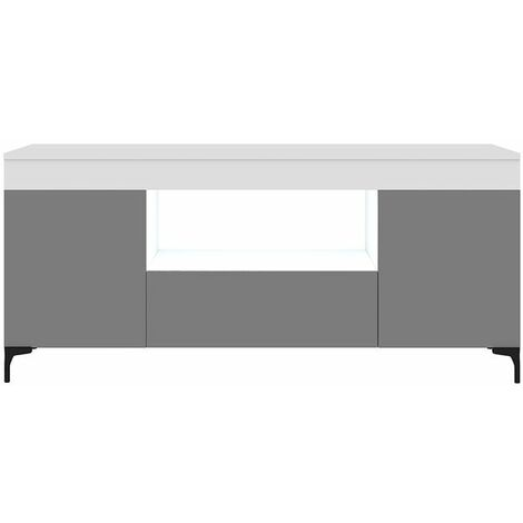 Selsey Gusto - Mueble TV - blanco mate / gris mate - 137 cm - con iluminación LED - moderno