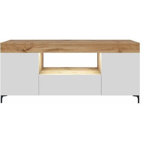 Selsey Gusto - Mueble TV - Roble Lancaster / Blanco Mat - 137 cm - con iluminación LED - moderno