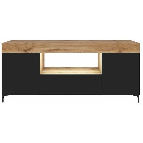 Selsey Gusto - Mueble TV - Roble Lancaster / Negro - 137 cm - con iluminación LED - moderno
