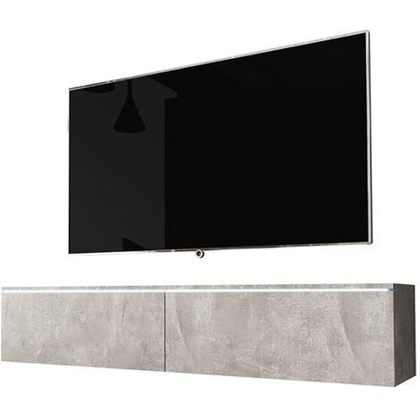 Selsey KANE - Meuble tv à suspendre / Banc tv (béton, 140 cm, avec LED)