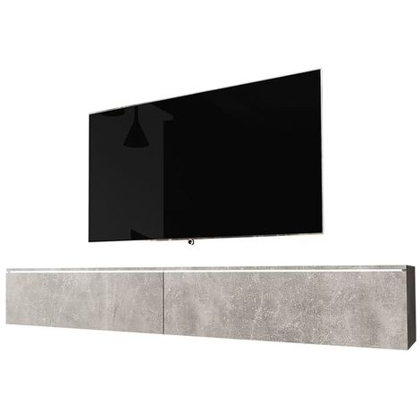 Selsey KANE - Meuble tv à suspendre / Banc tv (béton, 180 cm, avec LED)